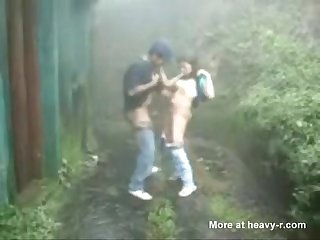* Indian college friends enjoying sex in rain